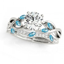 Twisted Round Blue Topazes & Moissanites Bridal Sets 14k White Gold (0.73ct)