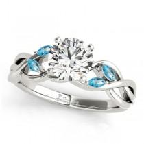 Twisted Round Blue Topazes & Diamonds Bridal Sets 14k White Gold (1.23ct)