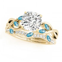 Twisted Cushion Blue Topazes & Diamonds Bridal Sets 14k Yellow Gold (1.73ct)