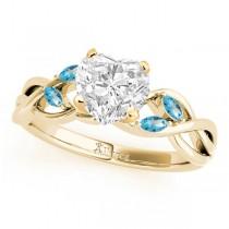 Twisted Heart Blue Topazes & Diamonds Bridal Sets 14k Yellow Gold (1.73ct)