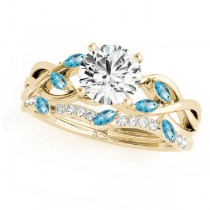 Twisted Round Blue Topazes & Moissanites Bridal Sets 14k Yellow Gold (0.73ct)