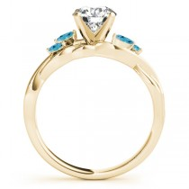 Twisted Round Blue Topazes & Moissanites Bridal Sets 14k Yellow Gold (1.23ct)