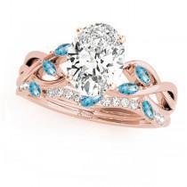 Twisted Oval Blue Topazes & Diamonds Bridal Sets 18k Rose Gold (1.73ct)