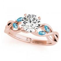 Twisted Round Blue Topazes & Moissanites Bridal Sets 18k Rose Gold (1.73ct)