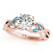 Twisted Round Blue Topazes & Diamonds Bridal Sets 18k Rose Gold (0.73ct)