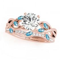 Twisted Round Blue Topazes & Diamonds Bridal Sets 18k Rose Gold (1.73ct)