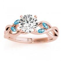 Marquise Blue Topaz & Diamond Bridal Set Setting 18k Rose Gold (0.43ct)
