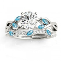 Marquise Blue Topaz & Diamond Bridal Set Setting 18k White Gold (0.43ct)