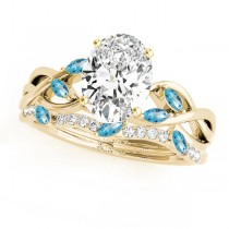 Twisted Oval Blue Topazes & Diamonds Bridal Sets 18k Yellow Gold (1.73ct)