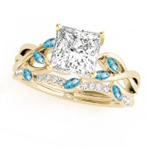 Twisted Princess Blue Topazes & Diamonds Bridal Sets 18k Yellow Gold (0.73ct)