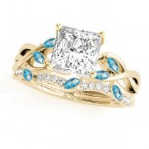 Twisted Princess Blue Topazes & Diamonds Bridal Sets 18k Yellow Gold (1.23ct)