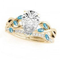 Twisted Pear Blue Topazes & Diamonds Bridal Sets 18k Yellow Gold (1.23ct)