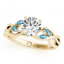 Twisted Round Blue Topazes & Diamonds Bridal Sets 18k Yellow Gold (0.73ct)