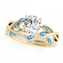 Twisted Round Blue Topazes & Diamonds Bridal Sets 18k Yellow Gold (1.73ct)