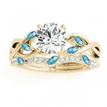 Marquise Blue Topaz & Diamond Bridal Set Setting 18k Yellow Gold (0.43ct)