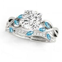 Twisted Cushion Blue Topazes & Diamonds Bridal Sets Palladium (1.23ct)