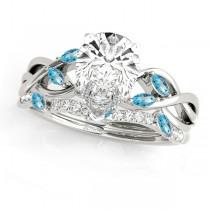Twisted Pear Blue Topazes & Diamonds Bridal Sets Palladium (1.23ct)