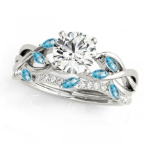 Twisted Round Blue Topazes & Diamonds Bridal Sets Palladium (0.73ct)