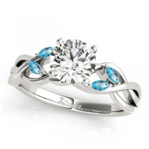 Twisted Round Blue Topazes & Diamonds Bridal Sets Palladium (1.23ct)