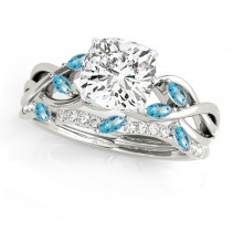 Twisted Cushion Blue Topazes & Diamonds Bridal Sets Platinum (1.23ct)