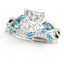 Twisted Princess Blue Topazes & Diamonds Bridal Sets Platinum (0.73ct)