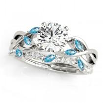Twisted Round Blue Topazes & Diamonds Bridal Sets Platinum (1.73ct)