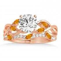 Marquise Citrine & Diamond Bridal Set Setting 14k Rose Gold (0.43ct)