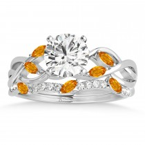 Marquise Citrine & Diamond Bridal Set Setting 14k White Gold (0.43ct)