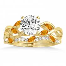 Marquise Citrine & Diamond Bridal Set Setting 18k Yellow Gold (0.43ct)