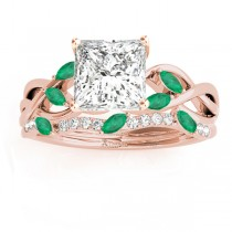 Twisted Princess Emeralds & Diamonds Bridal Sets 14k Rose Gold (1.23ct)