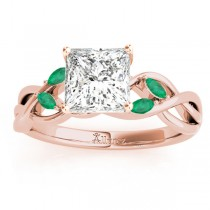 Twisted Princess Emeralds & Diamonds Bridal Sets 14k Rose Gold (1.73ct)