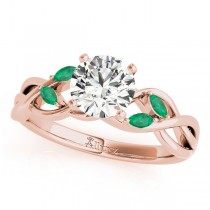 Twisted Round Emeralds & Diamonds Bridal Sets 14k Rose Gold (0.73ct)