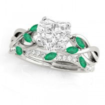 Twisted Heart Emeralds & Diamonds Bridal Sets 14k White Gold (1.73ct)