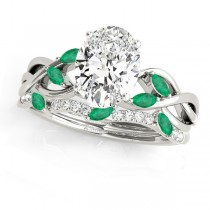 Twisted Oval Emeralds & Diamonds Bridal Sets 14k White Gold (1.23ct)