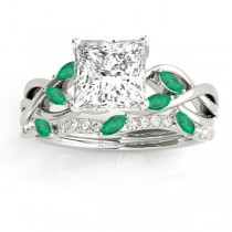 Twisted Princess Emeralds & Diamonds Bridal Sets 14k White Gold (0.73ct)