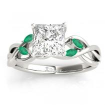 Twisted Princess Emeralds & Diamonds Bridal Sets 14k White Gold (0.73ct)