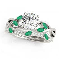 Twisted Round Emeralds & Diamonds Bridal Sets 14k White Gold (1.23ct)
