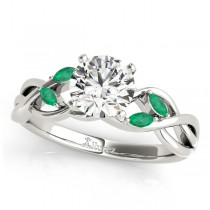 Twisted Round Emeralds & Diamonds Bridal Sets 14k White Gold (1.23ct)