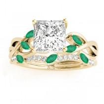 Twisted Princess Emeralds & Diamonds Bridal Sets 14k Yellow Gold (0.73ct)