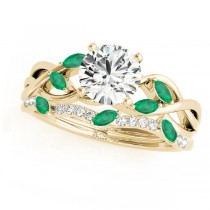 Twisted Round Emeralds & Moissanites Bridal Sets 14k Yellow Gold (1.23ct)