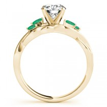 Twisted Round Emeralds & Moissanites Bridal Sets 14k Yellow Gold (1.73ct)