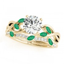 Twisted Round Emeralds & Diamonds Bridal Sets 14k Yellow Gold (1.23ct)