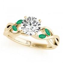 Twisted Round Emeralds & Diamonds Bridal Sets 14k Yellow Gold (1.23ct)
