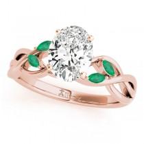 Twisted Oval Emeralds & Diamonds Bridal Sets 18k Rose Gold (1.73ct)