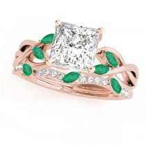 Twisted Princess Emeralds & Diamonds Bridal Sets 18k Rose Gold (1.23ct)