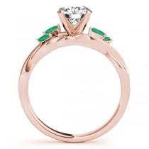 Twisted Round Emeralds & Diamonds Bridal Sets 18k Rose Gold (0.73ct)