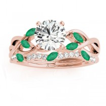 Marquise Emerald & Diamond Bridal Set Setting 18k Rose Gold (0.43ct)