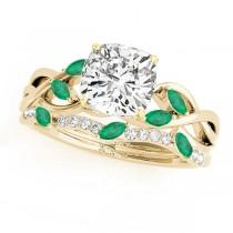 Twisted Cushion Emeralds & Diamonds Bridal Sets 18k Yellow Gold (1.73ct)