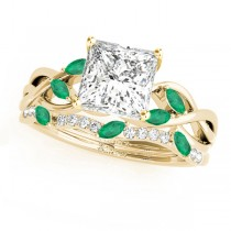 Twisted Princess Emeralds & Diamonds Bridal Sets 18k Yellow Gold (0.73ct)