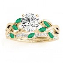 Marquise Emerald & Diamond Bridal Set Setting 18k Yellow Gold (0.43ct)
